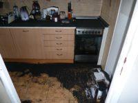 sanace po požáru - kuchyně před vyčištěním