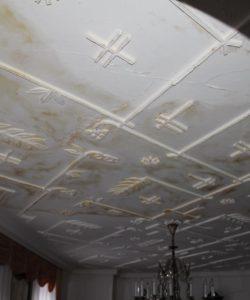 Poškozený strop vodovodní havárií